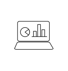 notebook with chart icon vector image vector image