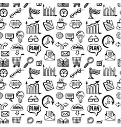 seamless pattern with business doodles icons set vector image vector image