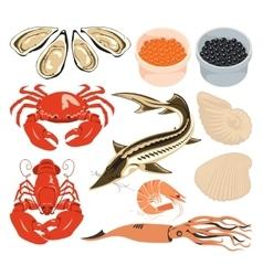 set marine animals vector image vector image