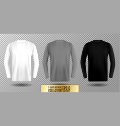 three shades of white gray and black long sleeve vector image