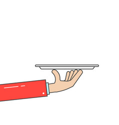 waiter holding plate in linear hand vector image vector image