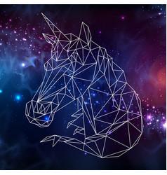 abstract polygonal fantasy animal unicorn vector image