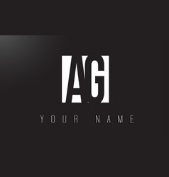 Ag letter logo with black and white negative vector