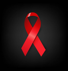 Aids day symbol red ribbon black poster vector