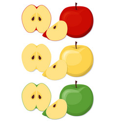 Apples set in cartoon style vector