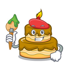 Artist birthday cake character cartoon vector