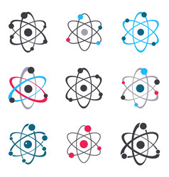 Atom sign logo icons collection vector
