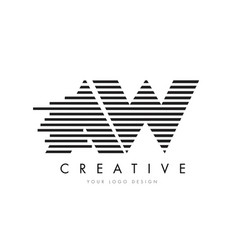 Aw a w zebra letter logo design with black and vector