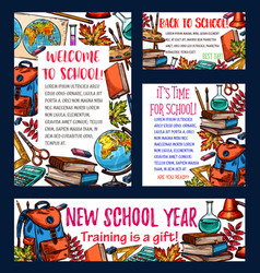 Back to school sketch banner or greeting card vector