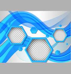 background template with hexagon shapes in blue vector image