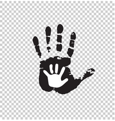 black and white silhouette of adult and baby hand vector image
