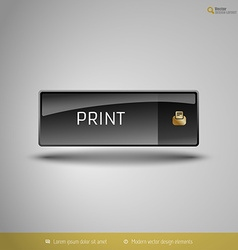Black glossy button vector