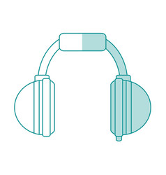 Blue shading silhouette cartoon headphones for vector