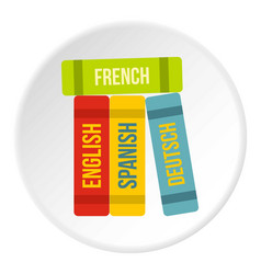 Books of foreign languages icon circle vector