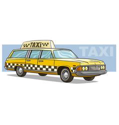 cartoon yellow retro taxi car icon vector image