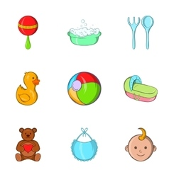 Child icons set cartoon style vector image
