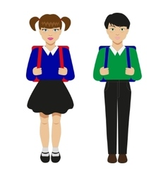 Children with schoolbags vector