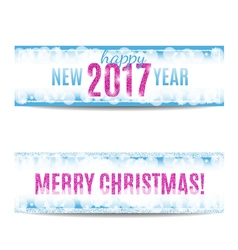Christmas and New Year 2017 banners pink text and vector image
