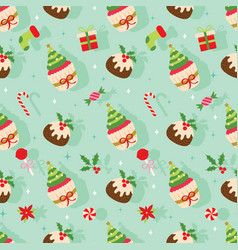 christmas seamless pattern with sweet dessert vector image