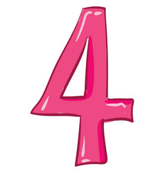 Clipart numerical number four or 4 in pink vector
