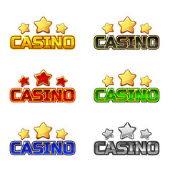Colored logo text casino and star for ui game vector