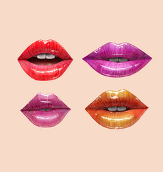 colorful lips set vector image