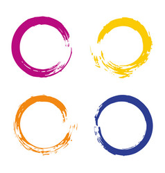 Colorful set with rainbow circle brush strokes vector
