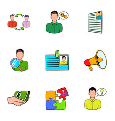 companionship icons set cartoon style vector image