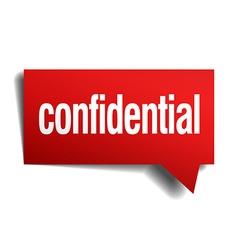 Confidential red 3d realistic paper speech bubble vector