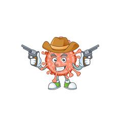 cool cowboy design bulbul coronavirus holding guns vector image