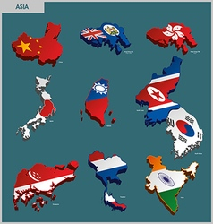 Countries Terrain - Asia vector image