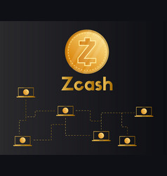 cryptocurrency zcash style on dark background vector image