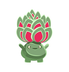 Cute benevolent succulent emoji cartoon emotions vector