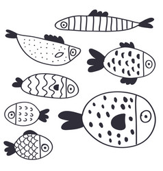 cute cartoon fish collection vector image