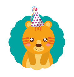 cute tiger party hat birthday vector image