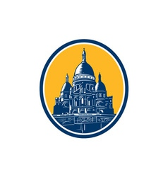 Dome of Sacre Coeur Basilica Paris Retro vector image