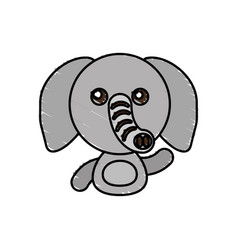 Draw elephant animal comic vector