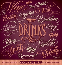 DRINKS menu headlines set vector image