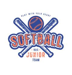 emblem of softball junior team vector image
