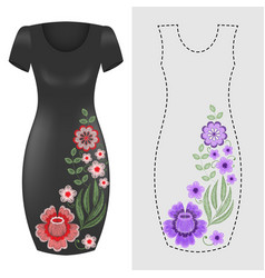 Fashion dresses template pink blue floral vector