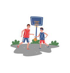 father playing basketball with his son at court vector image