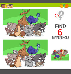 find differences with funny animal characters vector image