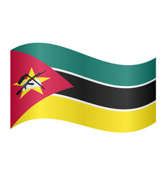 flag of mozambique waving on white background vector image