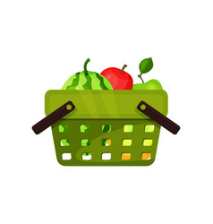 flat icon of plastic shopping basket with vector image