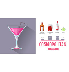 Flat style cocktail cosmopolitan menu design vector
