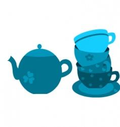 floral tea set vector image