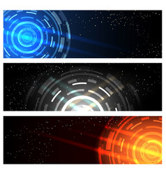Futuristic technology banner set vector