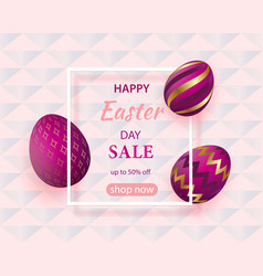 golden eggs with geometric pattern abstract pink vector image