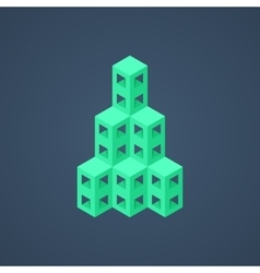 Green abstract isometric building icon vector