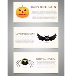 Halloween banner set with pumpkinflying bat and vector